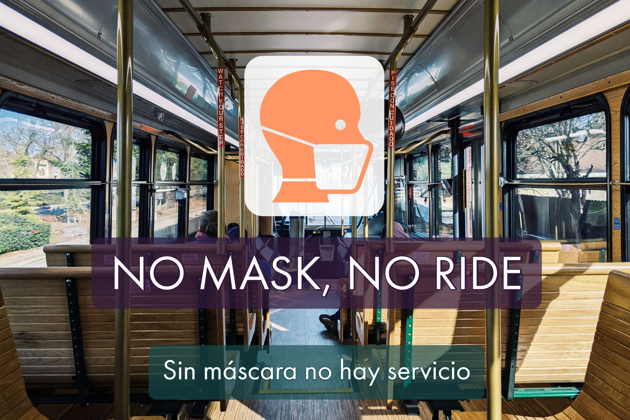 "Flier that says ""No mask, no ride."""