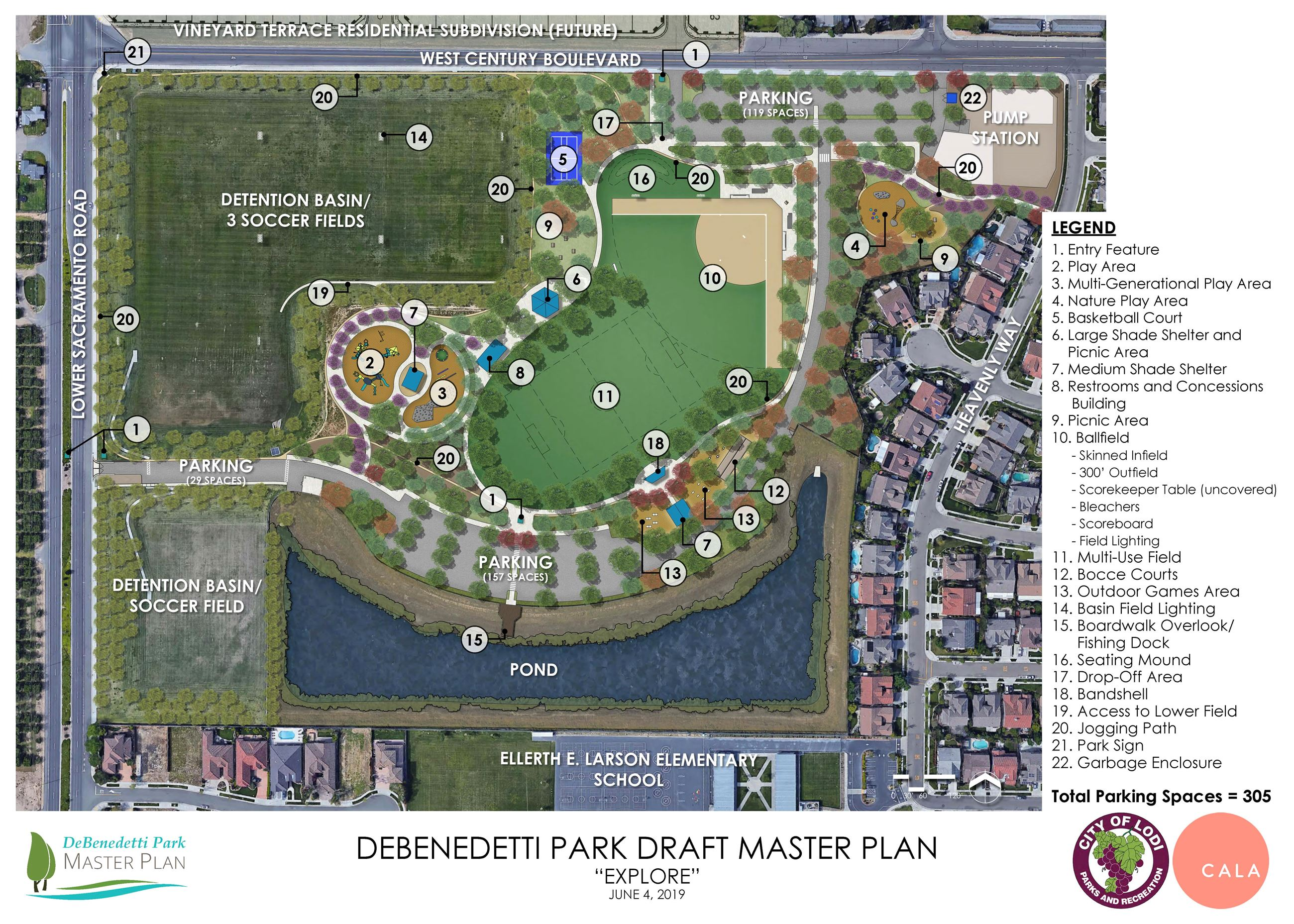 Draft plan of DeBenedetti Park